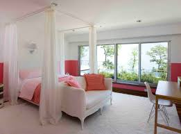 Eclectic Bedroom Design Bedroom Canopy Bed With White Bed Curtain And White Shag Bedding