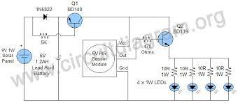 motion sensor solar outdoor light circuit diagram
