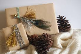 home decorating gifts astounding gifts with wrap using metallic tinsel with peacock