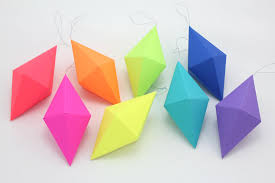 geometric paper gem ornaments dipyramid neon bright