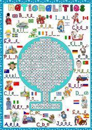 word search nationalities printable english teaching worksheets nationalities