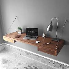 floating desk with storage industrial wall mounted desk walnut