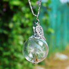 25mm dandelion real seed glass bulb wish butterfly necklace