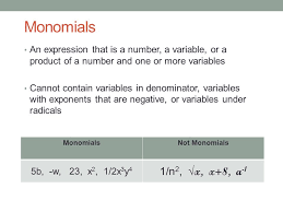 chapter 5 u2013 5 1 monomials mon oct 19 th essential question can
