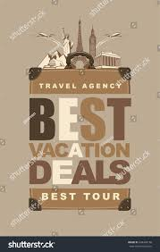 travel suitcase words best vacation deals stock vector 694430158