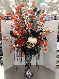 halloween floral arrangements halloween skelton skull flower