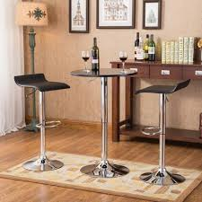 Glass Bar Table And Stools Belham Black Round Top With Black Leg And Base Metal Bar Table And