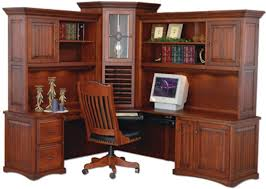 Corner Computer Desk With Hutch Large Amish Corner Computer Center Desk Hutch Home Office Wood