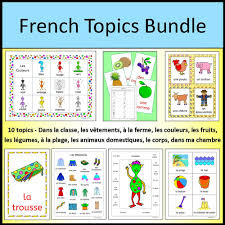 french word for bedroom french vocabulary topics bundle classroom clothing body farm