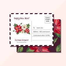 new year post card new year postcard with beautiful flowers vector free