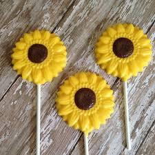 12 sunflower chocolate lollipops wedding favors birthday