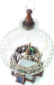 ornamental wood wire glass bird cage decorative wooden ornament