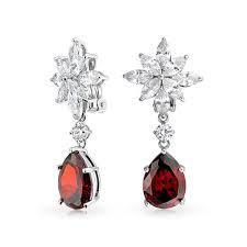 Red Chandelier Earrings Holiday Clip On Earrings Chandelier Red Garnet Color Cz Teardrop
