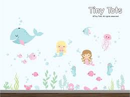 Vinyl Wall Decals For Nursery The Sea Mermaid Wall Decal The Sea