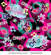 wallpaper pink guitar seamless pattern creative vector background dots stock vector
