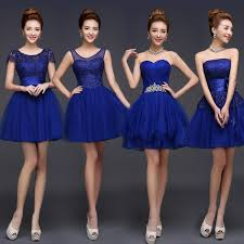 cheap royal blue bridesmaid dresses new 2015 fashion knee length soft tulle lace royal blue