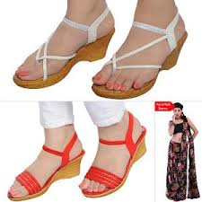 Footwear 2 Pairs Of Wedge Footwear By Style Feet With Free Assorted Saree