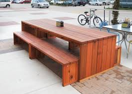 Patio Table L Modern Redwood Patio Table With Benches Forever Redwood