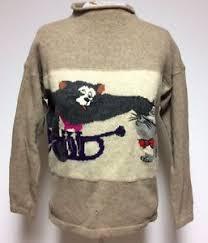 iceberg sweater vtg iceberg sweater womens sz 42 brown wool cat mouse sleeve