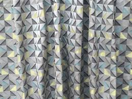 grey and yellow geometric triangle curtain fabric by the yard