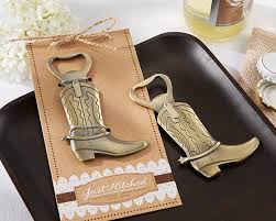 country wedding favors just hitched cowboy boot bottle opener wedding favors