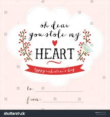 cute valentines day card template lovely stock vector 251877070