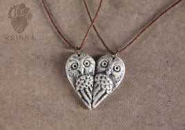 best friends necklace set images Personalized owl pair necklace best friends necklace heart jpg