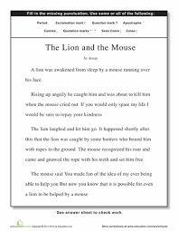 punctuation the lion and the mouse punctuation worksheets and