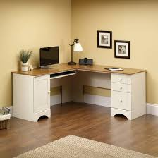 Corner Computer Desk With Drawers Sauder Harbor View Corner Computer Desk Antiqued White Finish