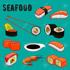 salm cuisine colorful seafood menu icons of sushi nigiri topped with smoked