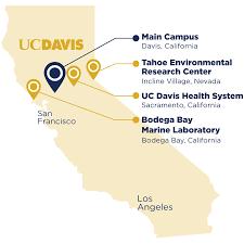 Sacramento Ca Map A Map Of California Featuring 4 Of Uc Davis U0027s Locations Including