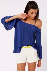 royal blue blouse top the shoulder top blue top backless top 27 00