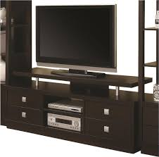 Modern Media Storage Furniture by Coaster Wall Units Casual Tv Console In Cappuccino Modern