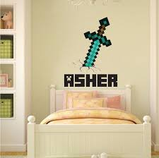 wall stickers murals boys sword personalized name wall decal bedroom design decals