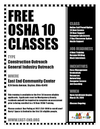 resume writing classes free osha 10 classes east end community services this training is a great opportunity for those seeking employment in any career field that requires workplace safety training including construction and