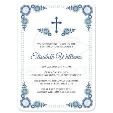 Baptism Card Invitation Blue Bloom Baptism Or Christening Invitation With Cute Flower Corners