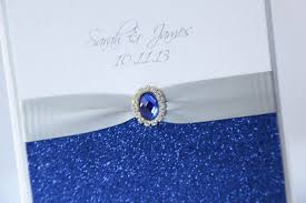 Royal Blue Wedding Invitations Silver U0026 Royal Blue Glitter Pocket Wedding Invitation Boxed