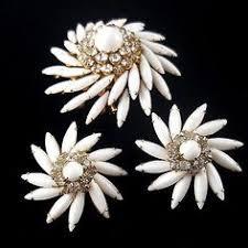Blair Delmonico Crystal Beaded Chandelier Item 101630 Vintage Circa 1980s Abalone Inlay Pierced Earrings