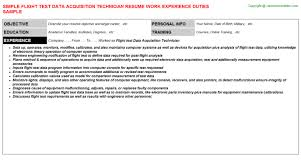 Employee Engagement Resume Flight Test Data Acquisition Technician Resume Sample