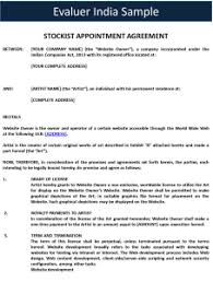 stockist appointment agreement u2013 template
