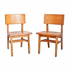 High Boy Chairs Pair Of Mid Century Modern Solid Maple Public Library Chairs On
