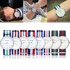 bracelet bands ebay images New women men geneva fabric nylon canvas band military dial quartz jpg