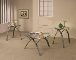 clear glass top u0026 metal legs modern 3pc coffee table set