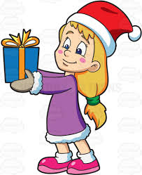 a giving her christmas gift cartoon clipart vector toons