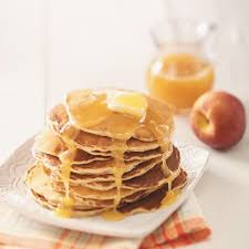 peach pancakes with butter sauce recipe taste of home