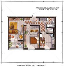 architectural color floor plan studio apartment stock vector
