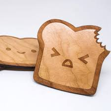 Unique Coasters Toast Coasters Toasters Set Of 4 Cherry Wood Coasters