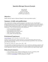 Manager Resumes Operations Manager Resumes Resume For Your Job Application