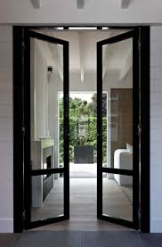 Full View Exterior Glass Door by Narrow Glass Hallway Door Leading Outside The House Founterior