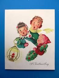vintage christmas card 1950s children singing x mas song red